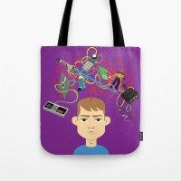nerd Tote Bags featuring Nerd by Mouki K. Butt