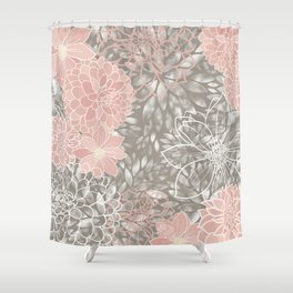 Floral Pattern Dahlias, Blush Pink, Gray, White Shower Curtain