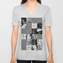 Eclectic Black and White Squares Unisex V-Neck