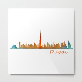 Dubai, emirates, City Cityscape Skyline watercolor art v1 Metal Print