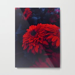 Red Flowers at Night (Color) Metal Print