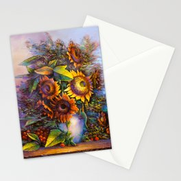 Oil painting a bouquet of flowers . Impressionist style 3 Stationery Cards