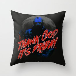 Thank God it's Friday in blue Throw Pillow