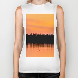 Orange Sunset With Forest Reflection On Lake Biker Tank