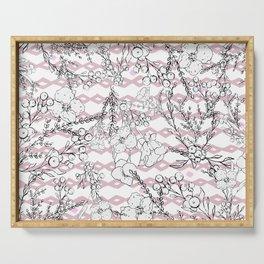 Modern  pink black geometrical floral pattern Serving Tray
