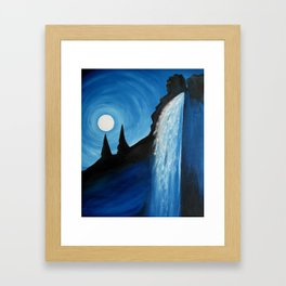 Moon Over Falls, by M.L.Holton Framed Art Print