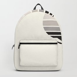 Grey Minimalist Mid Century Modern Watercolor Stripes Sunset Circle Abstract Pattern Backpack