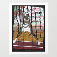 nba Art Prints featuring NBA PLAYERS - Shawn Kemp by Ibbanez