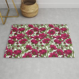 Red Cosmos flowers Rug