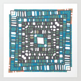 Squared layers in orange and blue Art Print
