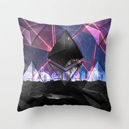 Ethereum Moon and Stars landscape Throw Pillow
