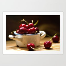 Red Cherries on the table Art Print