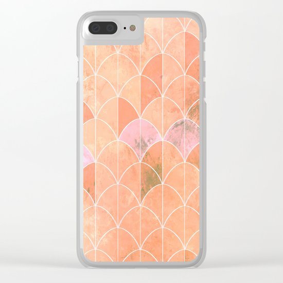 Mermaid scales. Peach and pink watercolors. Clear iPhone Case