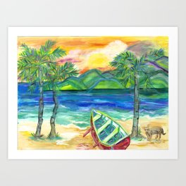 Artie the Island Dog's Red Boat Art Print