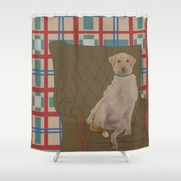 Dog in a chair #5 Golden Lab Shower Curtain