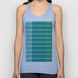 Tanager Turquoise, Teal Blue and Kelly Green Line Pattern Unisex Tank Top