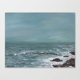 """""""Sound of the Sea"""" Teal Seascape Ocean Painting Canvas Print"""