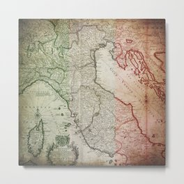 Vintage Map of Italy Metal Print