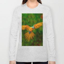 Flying Golden Blue Macaw Parrot Green  Art Long Sleeve T-shirt