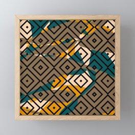 Pattern Formes Géométriques Bleu/Jaune/Taupe Framed Mini Art Print