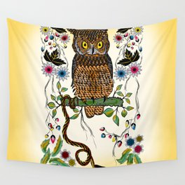 Vibrant Jungle Owl and Snake Wall Tapestry