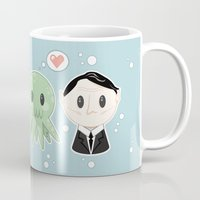 lovecraft Mugs featuring Lovecraft and Chtulhu by Cloudsfactory
