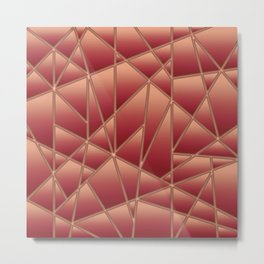 'Quilted' Geometric in Coral Metal Print