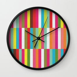 Bright Colorful Stripes Pattern - Pink, Green, Summer Spring Abstract Design by Wall Clock