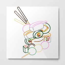 Sushi and Sweets - Outline Metal Print