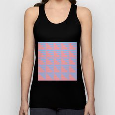 Pink Blue Peach Houndstooth /// www.pencilmeinstationery.com Unisex Tank Top