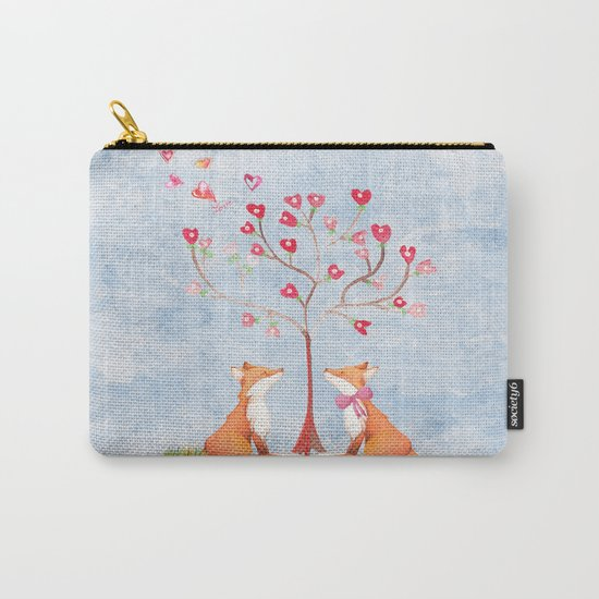 Fox love- foxes animal nature _ Watercolor illustration on #Society6 Carry-All Pouch