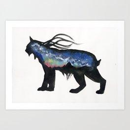 Aurora Milky Way Lynx. Art Print