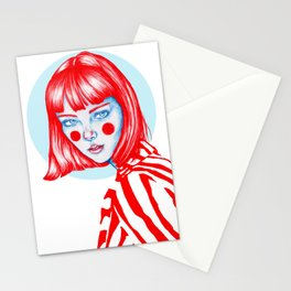 Blue-red girl Stationery Cards