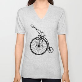 Giraffe Riding A Penny-Farthing Bicycle Unisex V-Neck