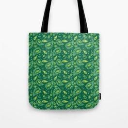 Green Painted Paisley Tote Bag
