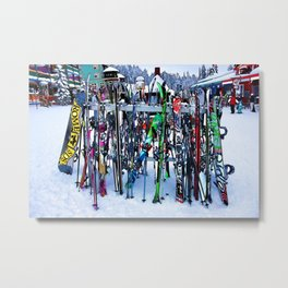 Ski Party - Skis and Poles Metal Print