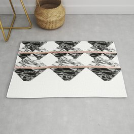 Modern Chic Black White Marble and Rose Gold Strip Rug