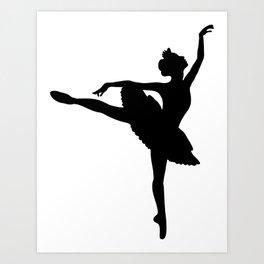 Ballerina silhouette (black) Art Print