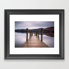 Lake View with Wooden Pier Framed Art Print