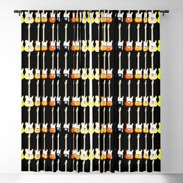 Electric Guitar Rainbow (On Black) Blackout Curtain