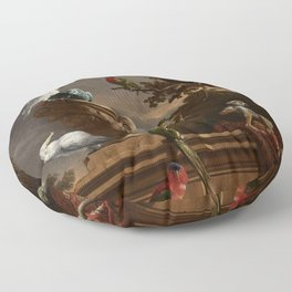 Melchior d'Hondecoeter, The menagerie (1690) Floor Pillow