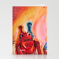 get shit done Stationery Cards featuring Robots Get Shit Done by The Fem Fox