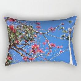 Red flowers blue sky Rectangular Pillow