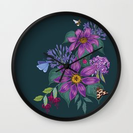 Clematis and Agapanthus on Dark Wall Clock