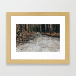 Frozen path, fun skating Framed Art Print