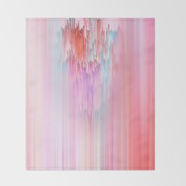 Abstract Cascade Glitch 2.Red and Pink Throw Blanket