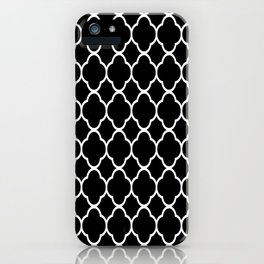 Black & White Moroccan Quatrefoil Design iPhone Case
