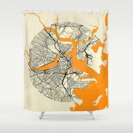 Boston Map Moon Shower Curtain