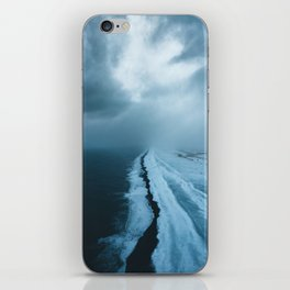 Moody Black Sand Beach in Iceland - Landscape Photography iPhone Skin