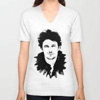 james franco V-neck T-shirts featuring james franco by looseleaf